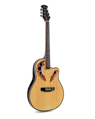 Full Size Cutaway Acoustic Electric Guitar with 4-Band EQ,Round Back Mutil Hole