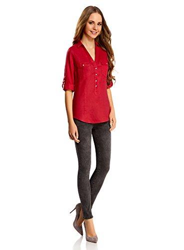 oodji Collection Mujer Blusa de Lino con Bolsillos Rojo (4500N)
