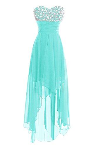 Dasior Party High Prom Bridesmaid Low Dress Cocktail Gown Aqua Long Women's Chiffon znwqgW6rHz