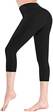 FITSOJOY Mesh Leggings with Pockets Yoga Pants for Women, Sports Workout Running Tights Womens Yoga Pant