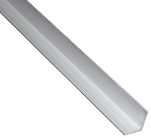 """6063 Aluminum Angle, Unpolished (Mill) Finish, Extruded, T52 Temper, AMS QQ-A-200, Equal Leg Length, Rounded Corners, 1-1/2"""" Leg Lengths, 1/8"""" Wall Thickness, 72"""" Length"""