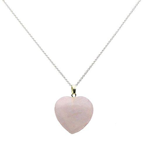 Small Pale Rose Quartz Stone Heart Pendant Sterling Silver Cable Chain Necklace 22