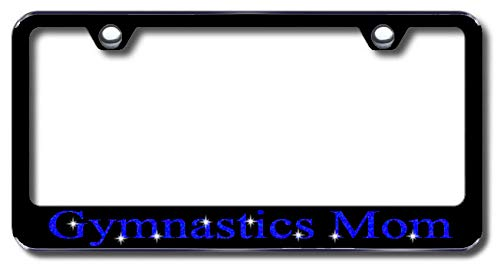 Aluminum Gymnastics Mom Design License Plate Frame with Swarovski Crystal Bling Diamond (Black License Plate, Royal Blue Crystals) -  Simply Infinite Productions