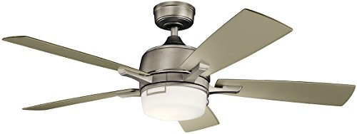 - Kichler Lighting 300457NI Leeds LED Ceiling Fan with Light, 52-inch, Brushed Nickel