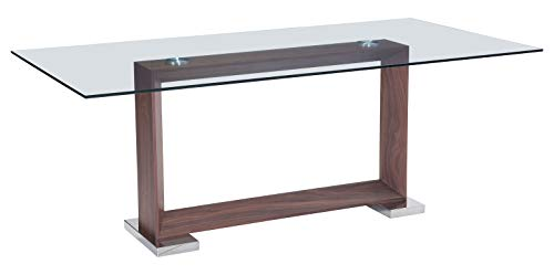 - Zuo Modern Oasis Dining Table in Walnut and Walnut Veneer MDF, Polished Stainless Steel