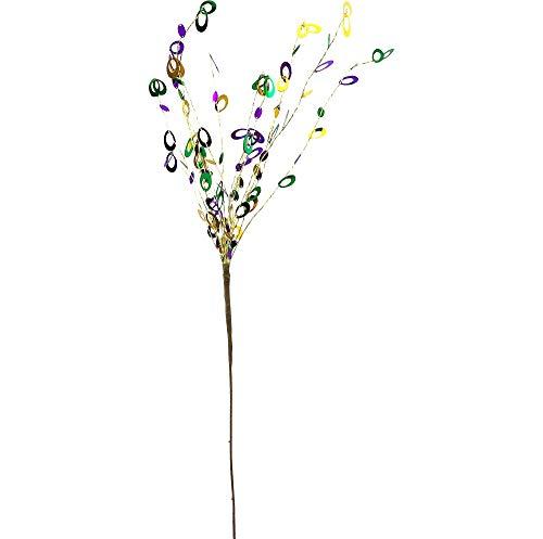 "American Oak Oval Sequin Mardi Gras Spray Stem, Party Decorations, 28 1/2"" H"