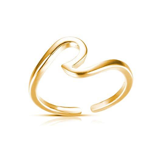 CSIYAN Opening Adjustable Ocean Wave Rings,Surfer Rings for Ocean Lovers All (Gold)