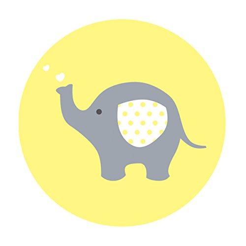MAGJUCHE Yellow Grey Elephant Baby Shower Stickers, Unisex