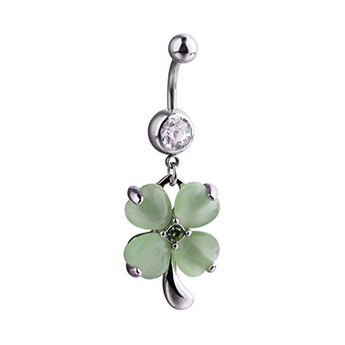 14G Stainless Steel Opal Four Leaf Clover Dangle Belly Navel Button Ring Body Piercing Jewelry. (Green) ()