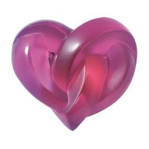 LALIQUE Fuchsia Heart Paperweight