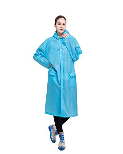 Poches Unie Femmes Avant Imperméable Avec Manteau Couleur Cordons Casual À Capuche Blau Veste Des Pluie Cordon Dame De wqtSn0XR