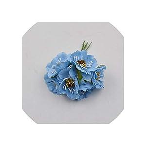 Old street 12pcs Artificial Flower Silk Cherry Bouquet for Wedding Home Decoration DIY Scrapbooking Wreath Craft Flowers,Light Blue 48