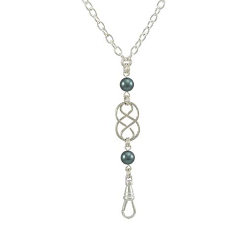Brenda Elaine Jewelry | Women's Fashion Lanyard Necklace for ID Badge Holders | 32 Inch Silver Chain with Silver Celtic Knot and Teal Swarovski Pearl Pendant & Rear Magnetic Break Away Clasp