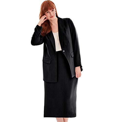 (Jessica London Women's Plus Size Single-Breasted Skirt Suit - Black, 18)
