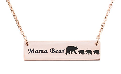Bear Steel Stainless (ELOI Mama Bear Necklace Cubs Stainless Steel Bar Pendant Mother's Day Gift Ideas Gifts for Mom Grandma)