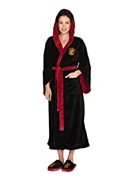 Womens Black Harry Potter Gryffindor Crest Hooded Dressing Gown