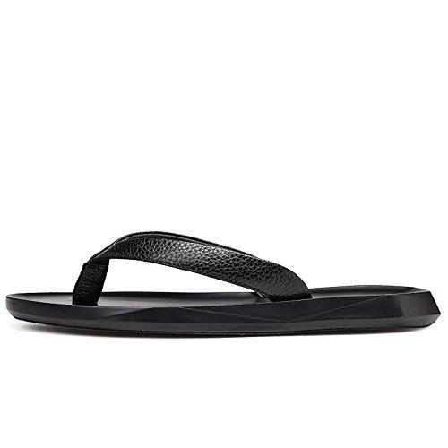 2018 la de Chancletas Cuero Correa Playa Antideslizantes Black Hombres Ocasional Planas de los Sandalias Suaves Zapatillas Zapatos de Genuino Sandalias Negro de rSngwYtfrq