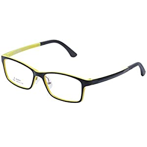 De Ding Children's Lightweight Optical Glasses Frame with Silicon nose pads (black yellow, clear)