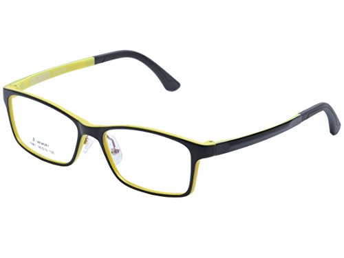 De Ding Children's Lightweight Optical Glasses Frame with Silicon nose pads (black yellow, - Memory Frames Eyeglass