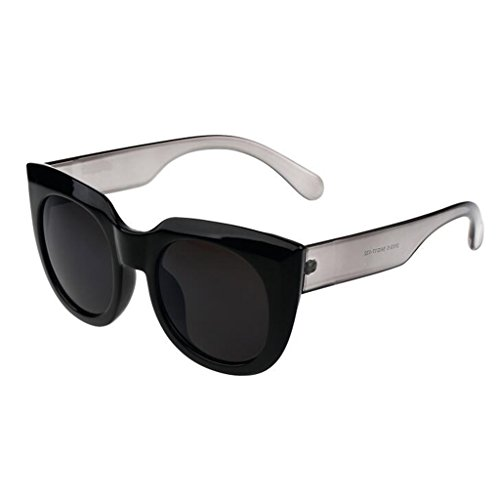 Reflexivo Redonda QZ Color Espejo Grande Gafas De Vintage Transparente Negro Sol Caja Cara HOME vwqRITpwS