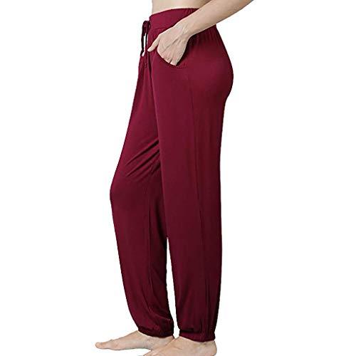 nikunLONG Flare Casual Plus Size Pants Cotton Linen Pajama Pants for Womens Stretch Knit Lounge Pants Bottoms Red