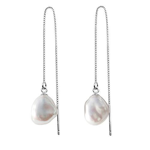 DSLONG 8-9mm KESHI White Cultured Baroque Pearl Drop Earring, 18K White Gold Plating Silver Dangle Threader Earrings for Women,3.5inch Bar Earring for Girl