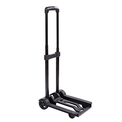 Kaluo Folding Hand Truck 90 Lbs Capacity 4 Wheels Portable Dolly Cart Hand Trolley For Luggage ,Traveling, Shopping, Moving and Office Use (Truck Mini Hand)