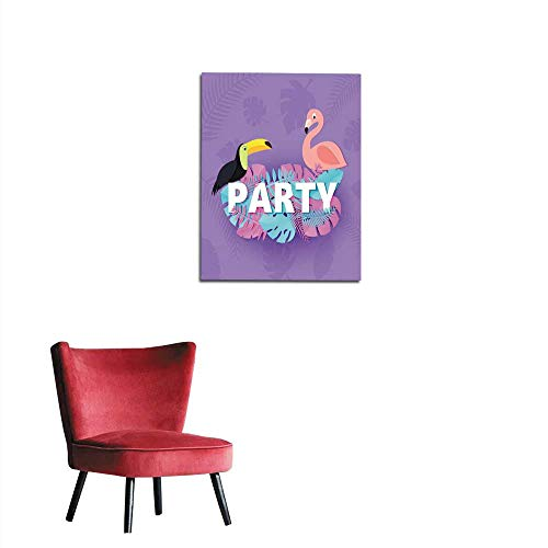 wall picture decoration Word PARTY composition with pink blue leaves toucan flamingo violet background in paper cut style Tropical birds leaf letters for design poster banner flyer T-shmural 24