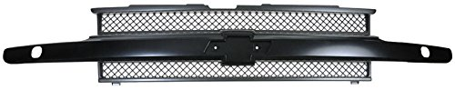Grille Grill Black Front End for 02-09 Chevy Trailblazer w/Headlight Washers (Grill For A Trail Blazer)