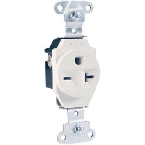 (Legrand-Pass & Seymour (5851WCC8) Heavy-Duty Spec Grade Single Receptacle, Side Wire 20amp 250volt - White)