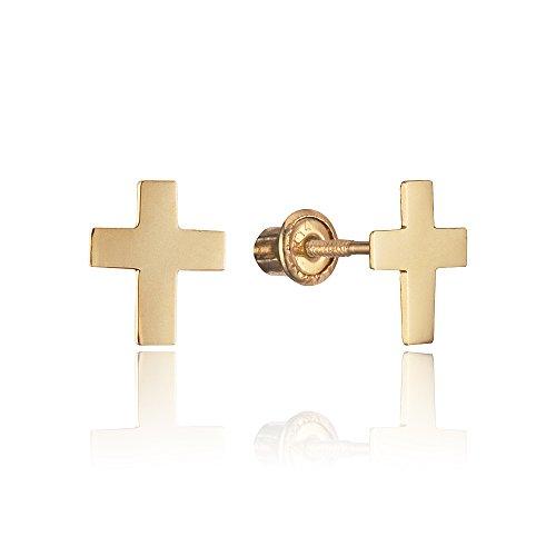 Cross 14k Gold Baby (14k Yellow Gold Plain Cross Stud Children Screwback Baby Girls Stud Earrings)