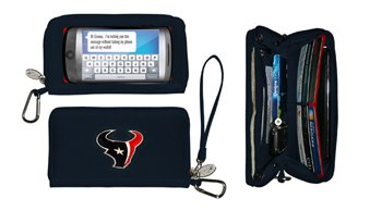 NFL Houston Texans Womens Deluxe Cell Phone Wallet with Embroidered Logo- Fits All Phones by Little ()