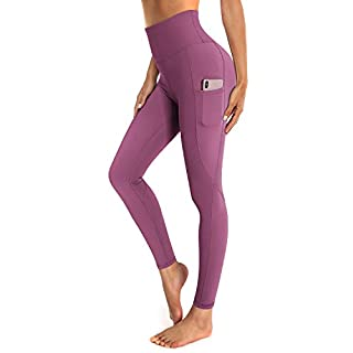 OUGES Womens High Waist Yoga Pants with Pockets Workout Running Leggings(Color02,S)