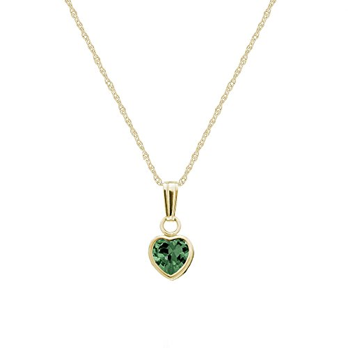 Little Girl's 14K Yellow Gold Simulated May Birthstone Heart Pendant Necklace (13 in)