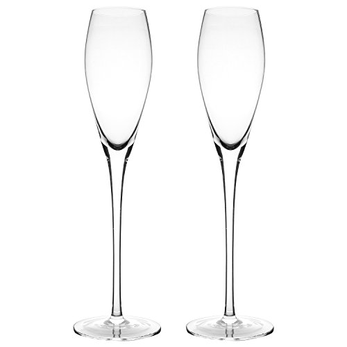 Bella Vino Crystal Champagne Flute Glasses - Beautifully Designed Hand Blown Champagne Glasses, 100% Lead Free Premium Crystal Glass, Perfect for Any Occasion,Great Gift, Set of 2, Clear