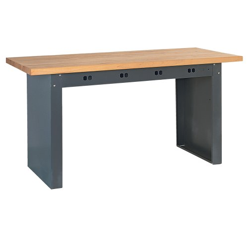 "Edsal E7208 Steel Electronic Modular Basic Bench with Butcher Block Maple Top, 72"" Width x 36"" Depth, Industrial Gray"