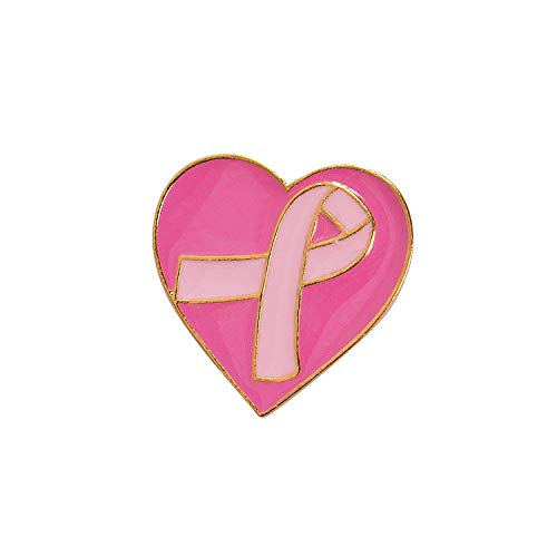 Pink Ribbon Heart Pin - Fun Express Pink Heart and Ribbon Awareness Pin - Jewelry - Adult Jewelry - Misc Adult Jewelry - 12 Pieces