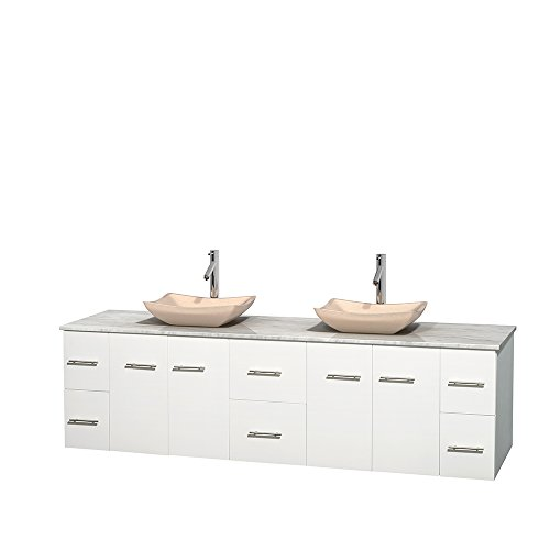 UPC 700161133363, Wyndham Collection Centra 80 inch Double Bathroom Vanity in Matte White, White Carrera Marble Countertop, Avalon Ivory Marble Sinks, and No Mirror