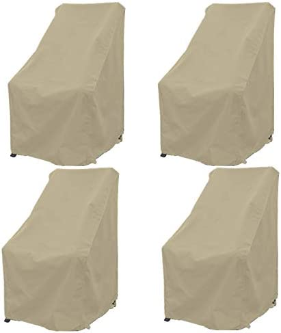 Premium Tight Weave Patio Hi Back Chair Covers Set of 4 with Adjustable Peel and Secure Fastener Strips Covers Furniture up to 42 H in Taupe