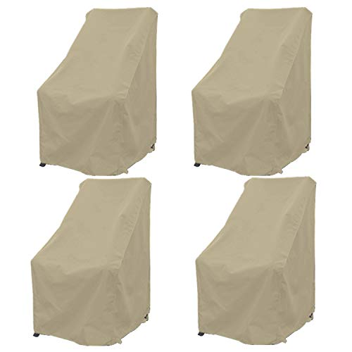 Premium Tight Weave Patio Hi Back Chair Covers Set of 4 with Adjustable Peel and Secure Fastener Strips Covers Furniture up to 42