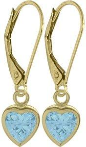 December 1.30 Carat 6mm Genuine Blue Topaz 14K Yellow Gold Heart Leverback Earrings Elite Jewels BE3408Y