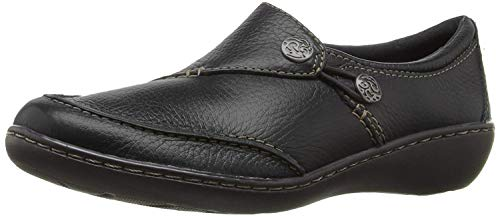 CLARKS Women's Ashland Lane Q Slip-On Loafer, Black, 7.5 M US (Womens Size 12 Clarks Shoes)