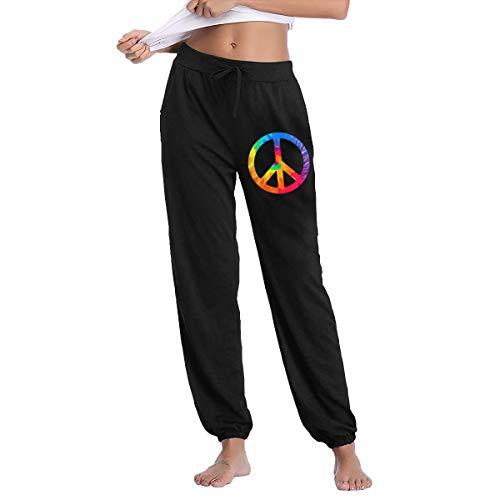 YOOJPC-6 Women's Tie Dye Peace Sign Sweatpants with Pockets Gym Jogging Lounging