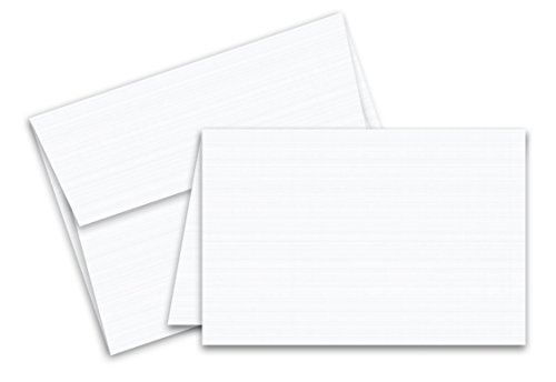 001 Greeting Card - Linen Textured Greeting Cards Set - Blank White Cardstock and Envelopes Perfect for Business, Invitations, Bridal Shower, Birthday, Interoffice, Invitation Letter, Weddings | 4.5 x 6 | Bulk Set of 25