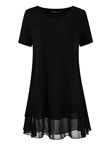 AMZ PLUS Women's Plus Size Flowy Long Tops Chiffon Splicing Loose Blouse Tunic Dress Shirt (XL(14Plus), Black with Short Sleeve)