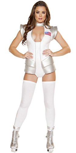 Apollo Space Girl Commander Suit Halloween Costume - White/Grey - Small