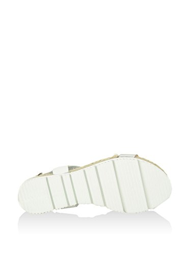 Sandalia plana En Piel Plata Blanco / Rosado