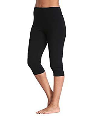 Kotii Women's Lightweight Soft Capri Leggings Crop Leggings 3/4 Stretch Yoga Pants