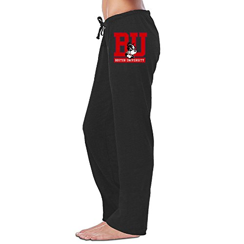 ElishaJ Women's Boston University Funny Sports Pants Black L (Minutemen Golf)