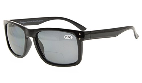 Eyekepper Polycarbonate Polarized Bifocal Sunglasses (Black Frame Grey Lens, - Sunglasses Fishing Polarized Bifocal